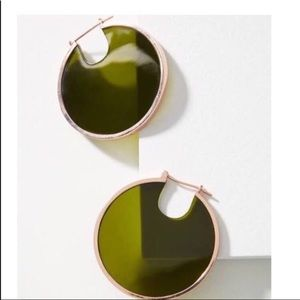 Anthro green hoop earrings NWT